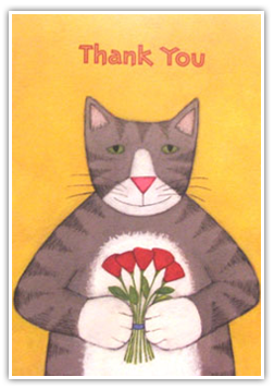 Testimonials Cards: -Thank You-(cat & flowers)